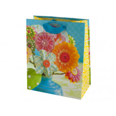 Fabric Flower Print Gift Bag