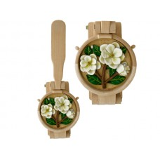 Wooden Tortilla Press with Magnolia Flowers Plaque