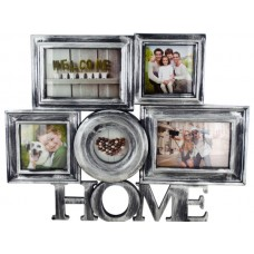 Silver Brushed Home Collage Photo Frame