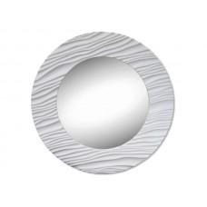 Modern Round White Textured Mirror