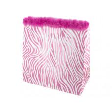 Large Pink Zebra Glitter Gift Bag
