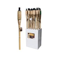 Natural Bamboo Wicker Tiki Torch Floor Display