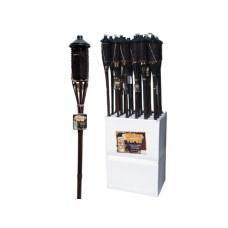 Brown Bamboo Wicker Tiki Torch Floor Display