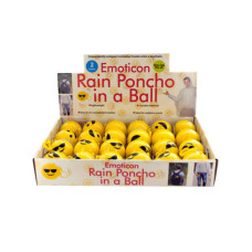 Emoticon Rain Poncho in a Ball Countertop Display
