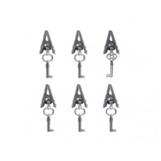 Antique Silver Craft Alligator Clips with Key Charms
