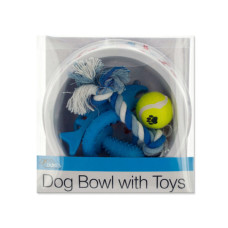 Printed Dog Bowl with Toys Set
