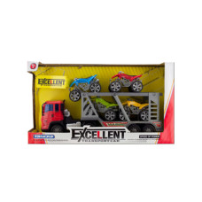 Friction Powered Double Trailer Truck with ATVs Set