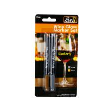 2pc Wine Glass Pen Silver & Gold