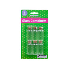 6 Pk Glass Containers w/Cork Stopper