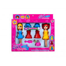 """2 Pack 7"""" Snap-on Fashion Doll with Accessories"""