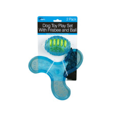 2 Pack Dog Toy Play Set With Frisbee and Ball