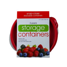 3 Pack Plastic Round Food Container