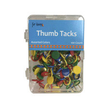 100 Count Thumb Tacks in Assorted Colors