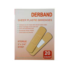 Derband 20 Count 3''x 3/4'' Sheer Plastic Bandages