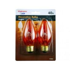 2 pack 40 watt amber a15 light bulbs