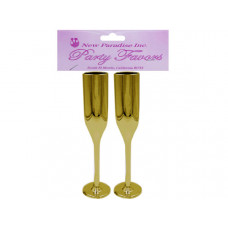 "2 Piece 6"" Plastic Champagne Flute in Gold"