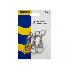 3 pk snap clip key chain set