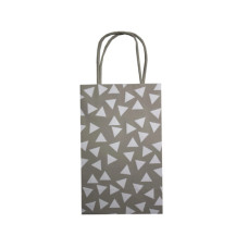 Small Gray Giftbag With Printed White Triangles