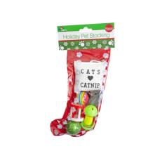 christmas cat stocking w/6 toys