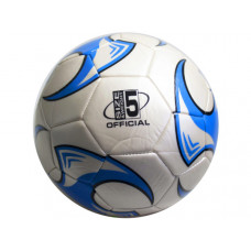 size 5 soccer ball with blue wheel design