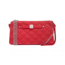 Small Silicone Handbag with Chain and Strap - Crimson