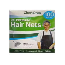 "Clean Ones 100 Count Premium 24"" Disposable Hair Nets"