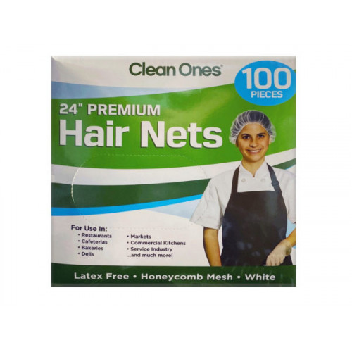 "Clean Ones 100 Count Premium 24"" Disposable Hair Nets"