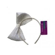 White Eyelet Cut Bow Head Band