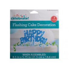 Flashing Cake Decoration Happy Birthday in Blue