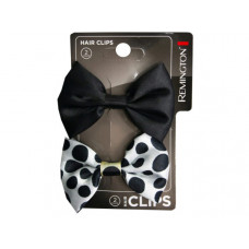 2 Count Black and Polka Dot Bow Hair Clips