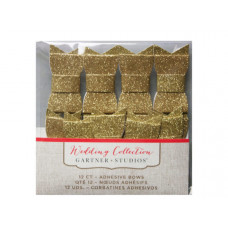 12 Count Gold Glitter Adhesive Bows
