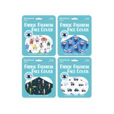 """Boys Preschooler 9"""" x 3.5"""" Fabric Face Mask 4 Asst"""