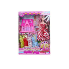 "11"" bendable doll w/4 extra dresses & play house"