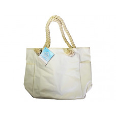 solid beige beach tote bag with rope handles