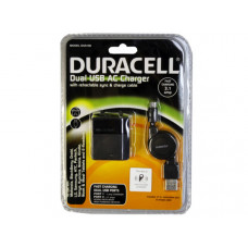 Duracell 3.1 Amp Dual Port Wall Charger with Retractable Micro USB Cord