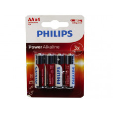 Philips Power Alkaline 4 Pack AA Battery