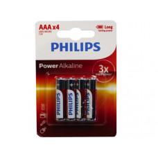 Philips Power Alkaline 4 Pack AAA Battery