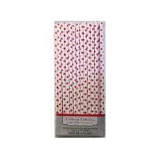 Pink Dot Paper Straws 24 Count