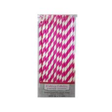 pink stripe paper straws 24 count