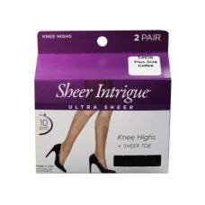 Sheer Intrigue Coffee Brown Ultra Sheer Knee High 2 Pack Plus Pantyhose