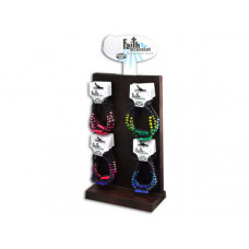Neon Wood Religious Themed Faith Bracelets in Countertop Display