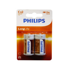 Philips Long Life Zinc Chloride 2 Pack C Battery