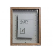 """7"""" x 9"""" Shadow Box with Peg Board Natural Photo Frame for 4"""" x 6"""" Photo"""