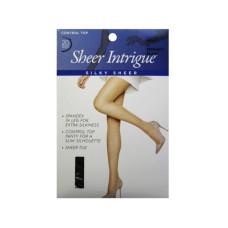 Sheer Intrigue Mid Black Silky Sheer & Spandex Control Top Pantyhose XXL