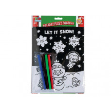 Fuzzy Holiday Poster Set with 4 Markers