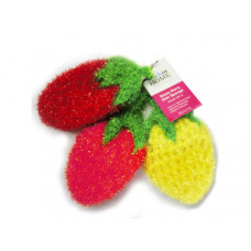 3 Pack Strawberry Sponges in Red, Pink and Yellow