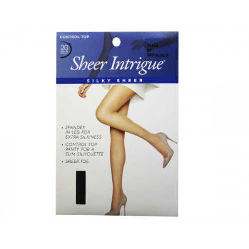 Sheer Intrigue Off Black Silky Sheer & Spandex Control Top Pantyhose Large