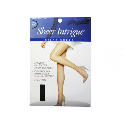 Sheer Intrigue Off Black Silky Sheer & Spandex Control Top Pantyhose XL
