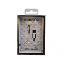 Electric Candy 3 Ft Micro USB Cable in Silver and White