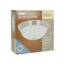 FEIT Fluorescent Ceiling Fixture with 30W Lamp Bulb in Stainless Steel